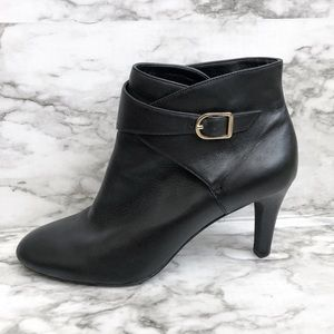 Banana Republic Black Leather Buckle Ankle Booties